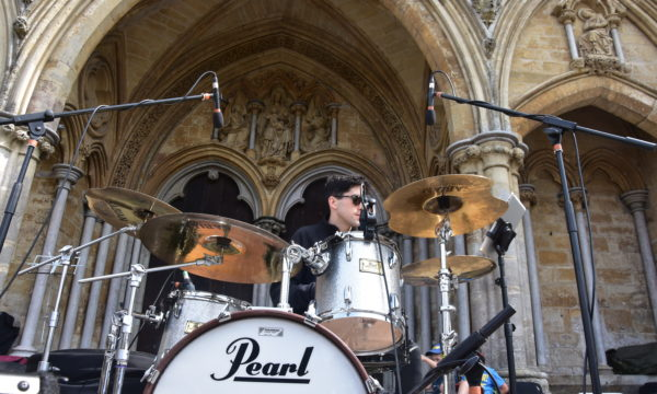 Drummer and cathedral